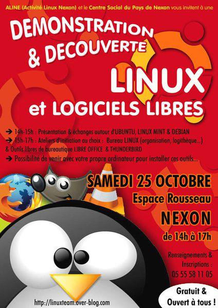 RENCONTRE LINUX &amp&#x3B; LOGICIELS LIBRES : Samedi 25 Octobre - 14h&gt&#x3B;17h - NEXON