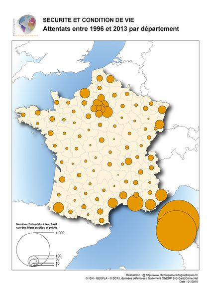 Carte de France par département des attentats à l'explosif