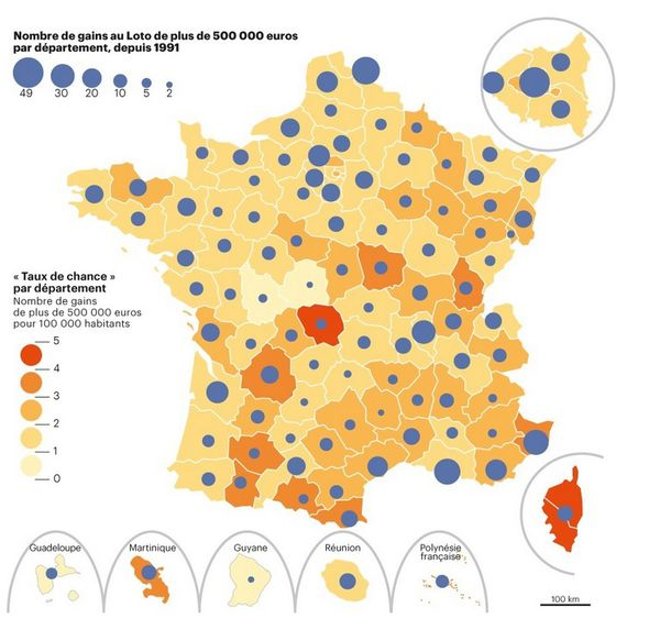 carte de France des gains à la loterie nationale
