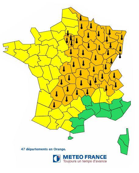Carte de France canicule et pollution