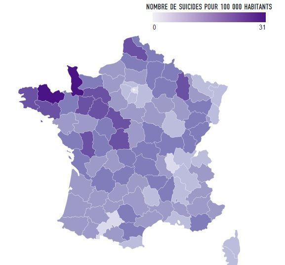 Carte de France du taux de suicide 2013