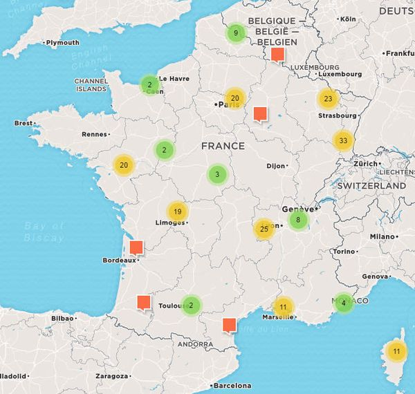 Carte de France interactive des événements