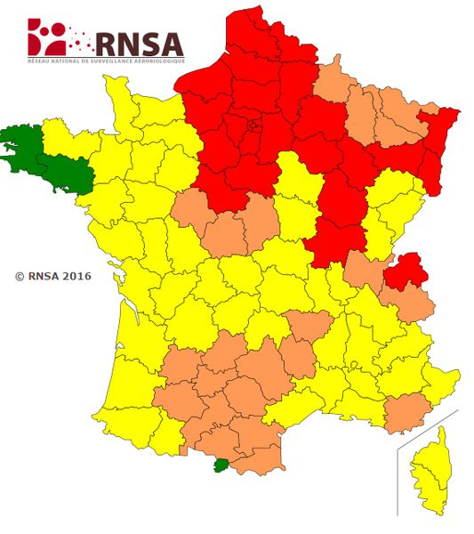 Carte de France propagation des pollens
