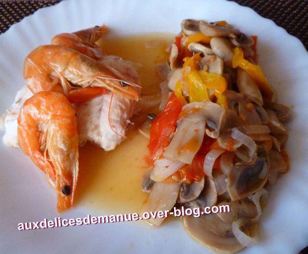 daurade et crevettes au légumes - LIGHT -