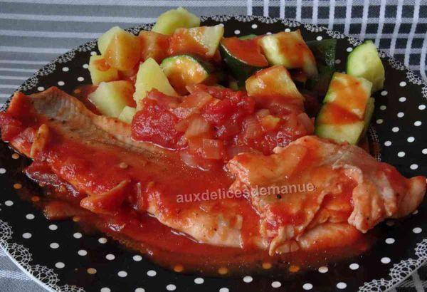 filets de truite au coulis de tomates et légumes vapeur -LIGHT-