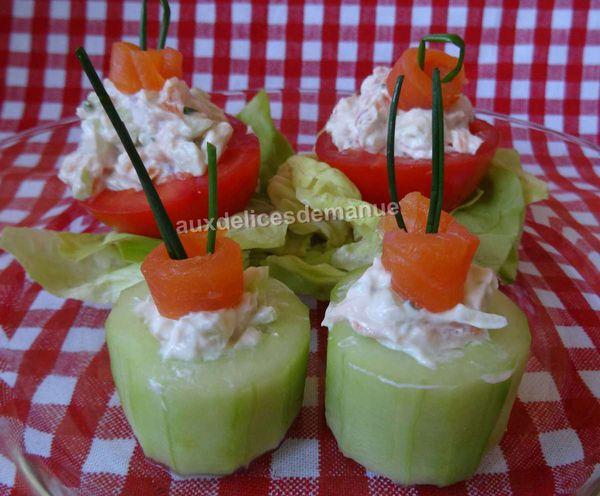 concombre et tomates farcies à la truite fumée et petit-suisse -LIGHT-
