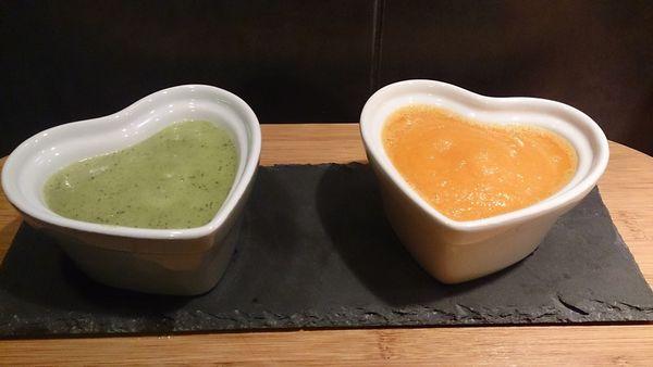Soupe de carottes à l'orange et de courgettes au cumin