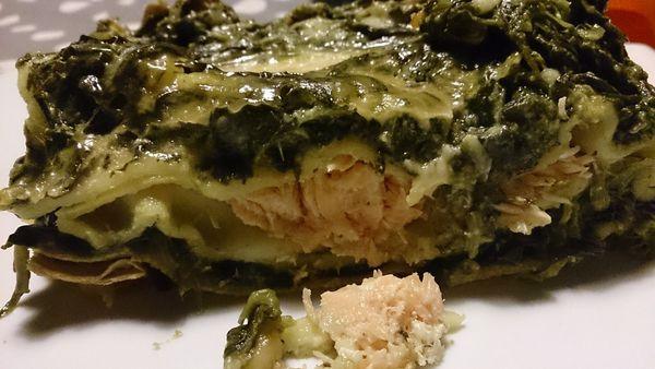 Lasagnes, saumon et épinards