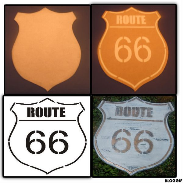 plaque route 66 r alisation pour les passionn s de d co et des animatrices d 39 ateliers de. Black Bedroom Furniture Sets. Home Design Ideas