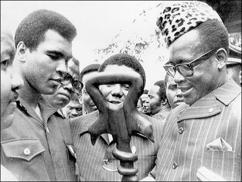 Mohamed Ali et le président Mobutu, à Kinshasa