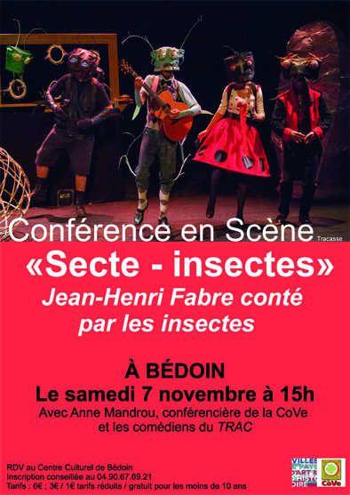 Conférence en Scène Secte Insectes en partenariat avec la COVE le samedi 7 novembre à 15h à Bédoin