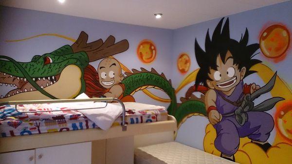 Graffiti habitacion infantil Dragon Ball
