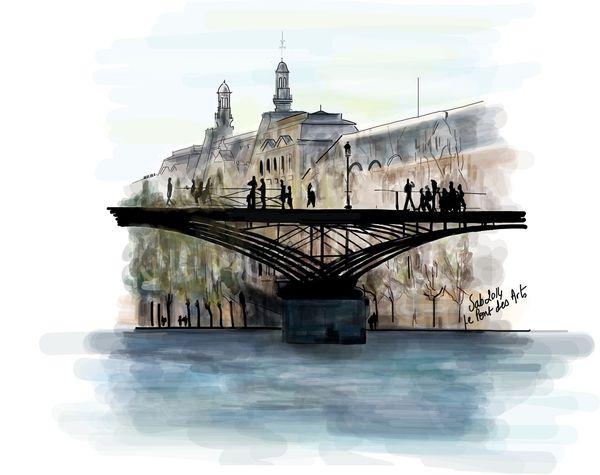 Au fil de l'eau en dessin le pont des Arts Paris