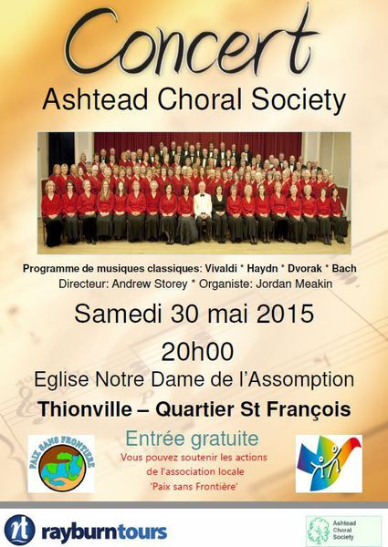 CONCERT ASCHEAD  CHORAL SOCIETY, Notre Dame, Thionville