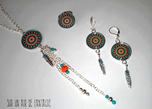 Parure motif mandala, turquoise / orange, création unique.