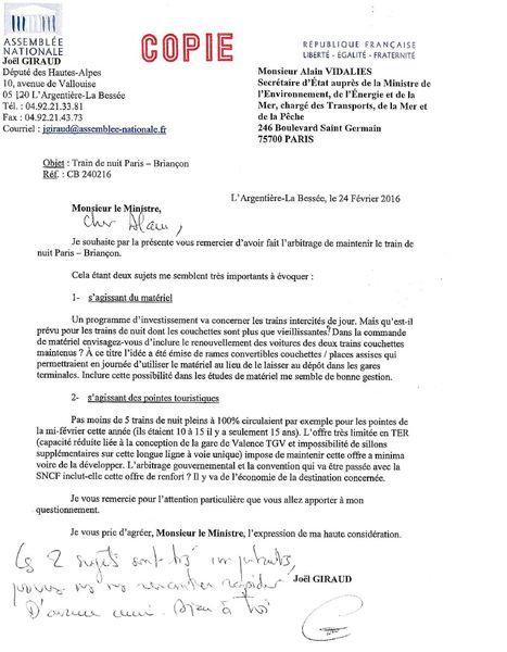 Train de nuit Briançon / Paris: lettre de J. Giraud au Gouvernement ...
