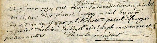 Mariage du 9e mars 1734