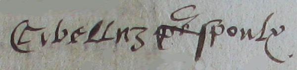 En 1622 Signature de Jean François SYBELLOZ alias SAMEYS