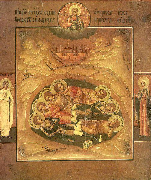 Fêté le 4 août : Saints sept jeunes &quot&#x3B;Sept dormants&quot&#x3B; d'Ephèse