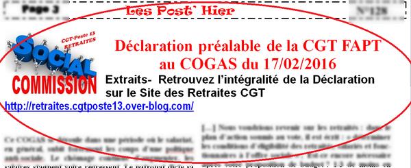 Déclaration CGT au COGAS