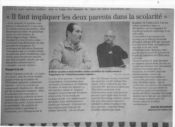 Respect de l'Autorité Parentale Conjointe à l'école: fondamentale!