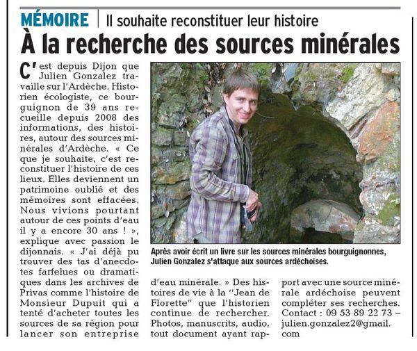 Mon projet de livre sur les sources minérales oubliées de l'Ardèche
