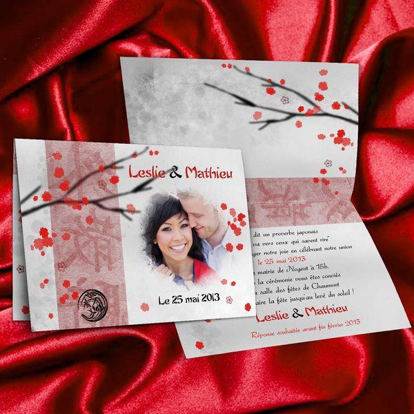 Faire-part de mariage Japon zen rouge et noir