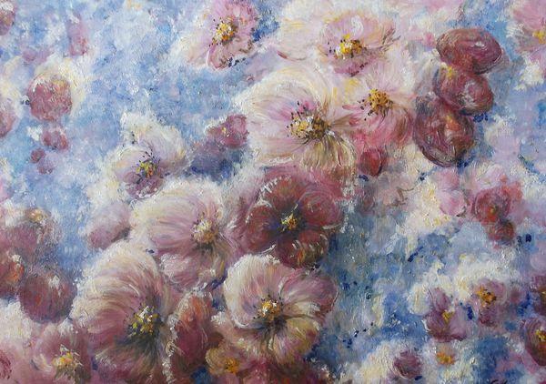 Sous une pluie de fleurs huile