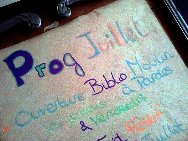 Prog de JUILLET !!
