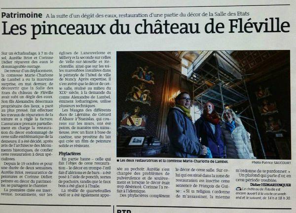 Un bel article pour un beau chantier au château de Fléville