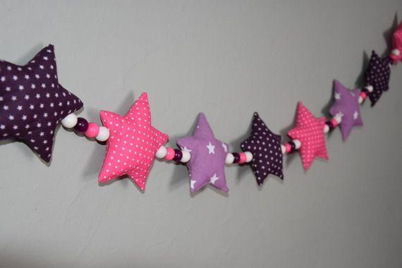 Guirlande de 9 étoiles en tissu et perles de bois - AW CREATIONS ...