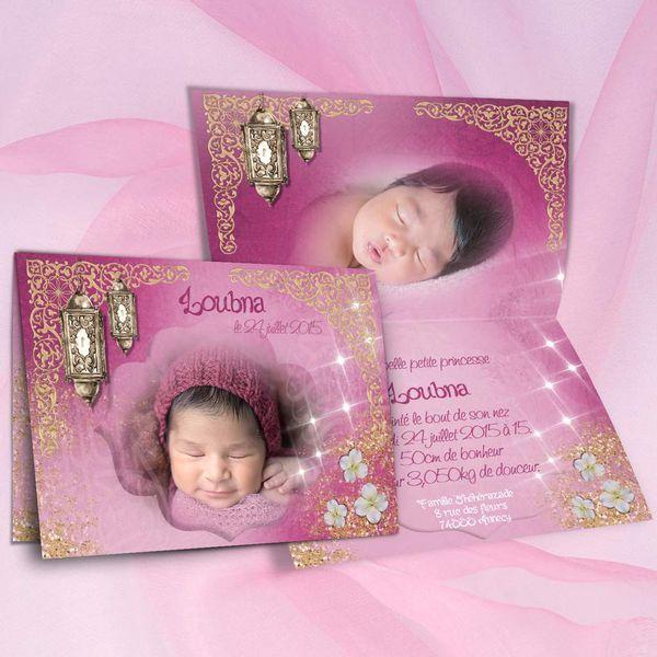 Rose et or, faire-part de naissance oriental pour petite princesse