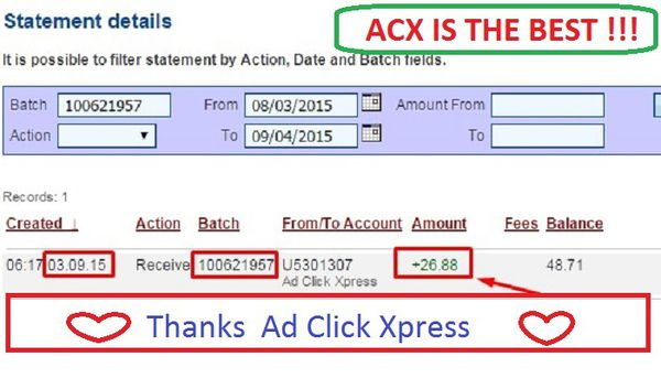 Withdrawal Proof from AdClickXpress