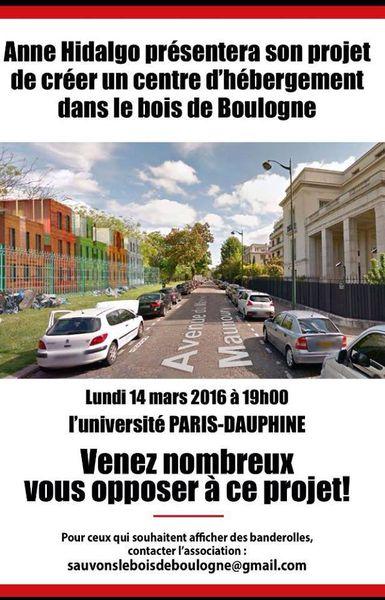 LES RIVERAINS DU 16E EN COLÈRE CONTRE LE PROJET D'HÉBERGEMENT DANS LE BOIS DE BOULOGNE