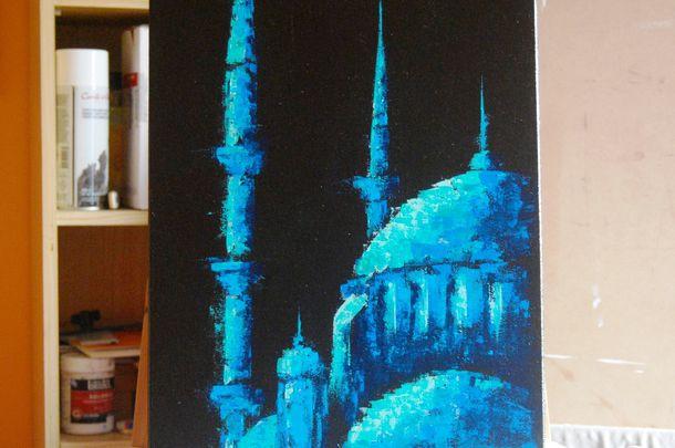 Tableaux peintures mosqu es et d co cuisine islam deco for Peinture argentee murale