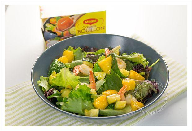 Salade de jeunes pousses, crevettes, courgettes et mangues