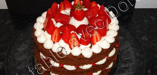 Layer cake chocolat fraise et mascarpone
