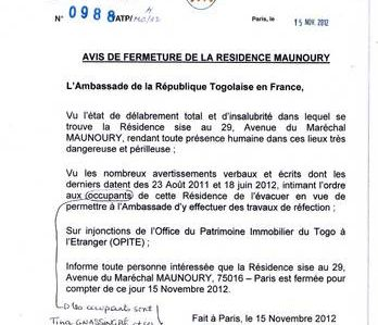 TOGO:EXCLUSIF DOCUMENT AMBASSADE DU TOGO A PARIS