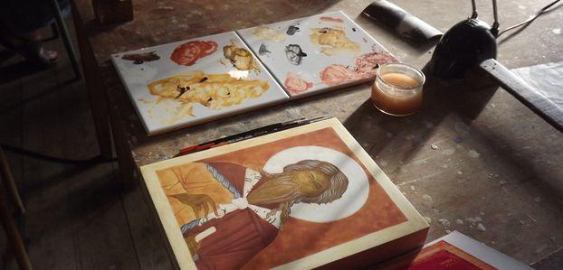 Stage d'iconographie et fabrication des pigments.