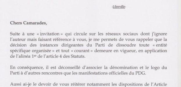 Communication du Parti Démocratique Gabonais (PDG)