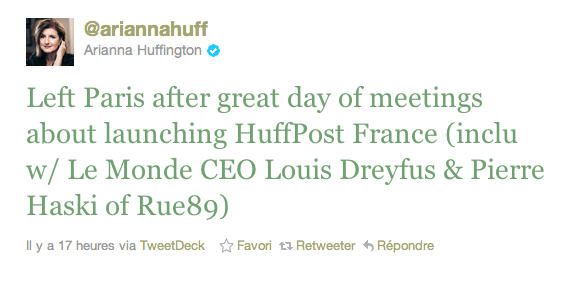 Arianna Huffington à Paris: lancement avant la fin de l'année ?