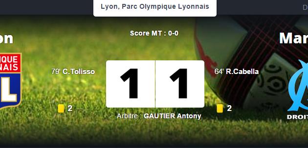 Lyon 1-1 Marseille : Frustrant