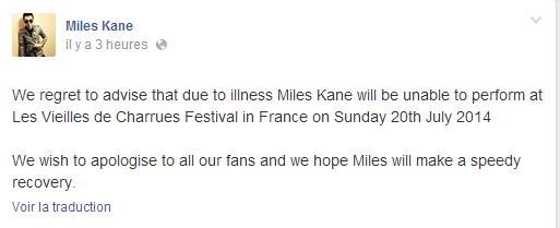 Miles Kane out, BB Brunes in