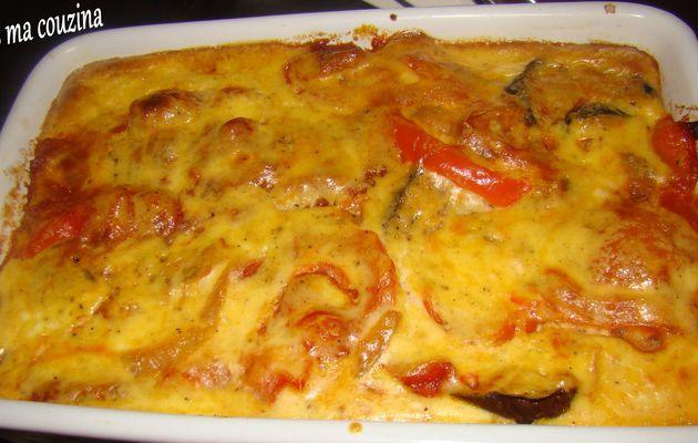 gratin aubergine, oignon, tomate, mozzarella
