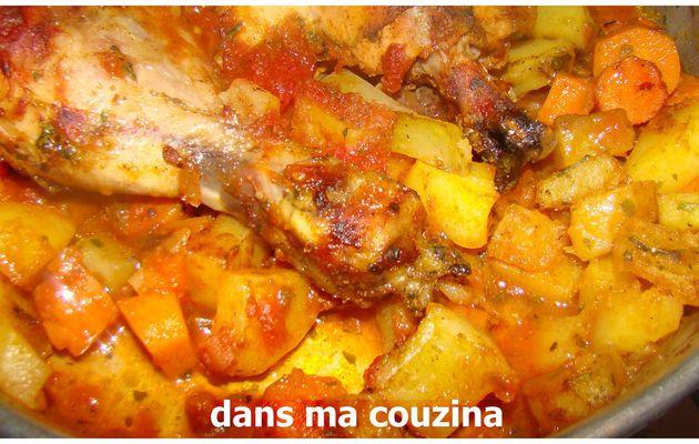poulet au four accompagné de carotte et pomme de terre