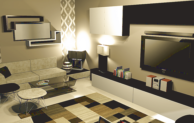 Design 3d  living room by night