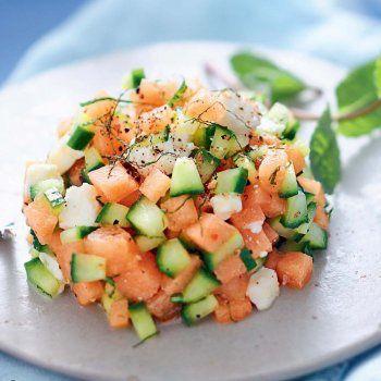 Salade fraîcheur melon, concombre, feta.