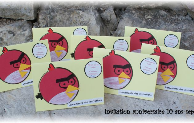 Anniversaire Angry birds- cartons d'invitation