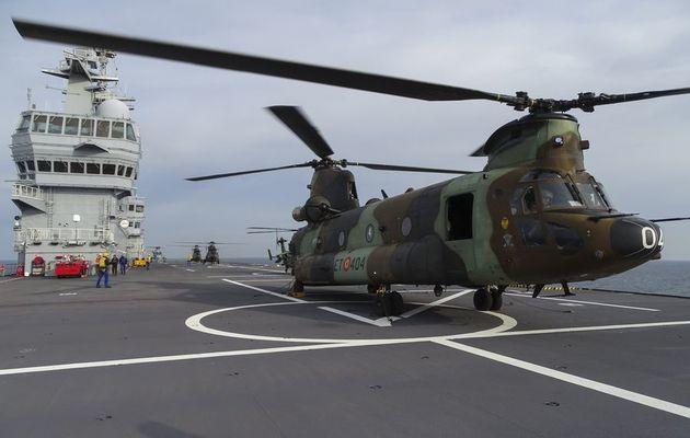 Le BPC Dixmude développe son interopérabilité avec les MV-22 Osprey et les aéronefs des armées espagnoles