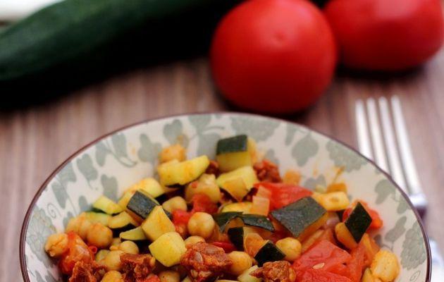 Poêlée de courgette, tomates, pois chiches et chorizo